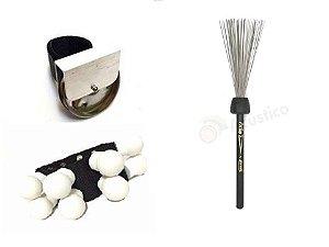 Chimbal De Dedo + Tornozeleira Canela Shaker + Vassoura Aço