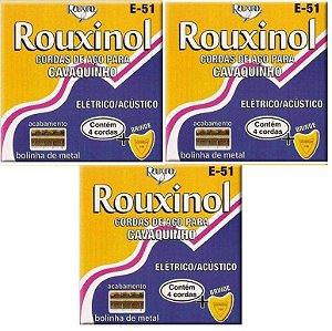 Rouxinol Kit Com 3 Encordoamento Cavaquinho Com Bolinha E-51