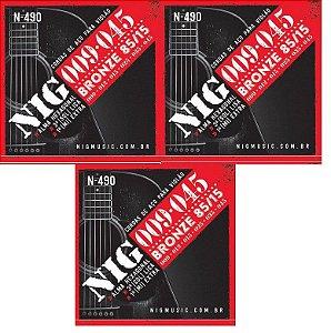 Nig Kit Com 3 Encordoamento Violão Aço 09 N-490 Tensão Leve