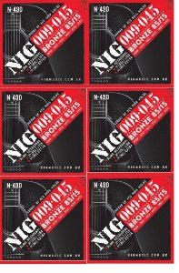 Nig Kit Com 6 Encordoamento Violão Aço 09 N-490 Tensão Leve