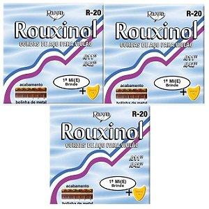 Rouxinol Kit Com 3 Encordoamento Violão Aço Com Bolinha R-20