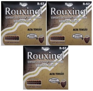 Rouxinol Kit C/ 3 Encordoamento Violão Nylon C/ Bolinha R-57