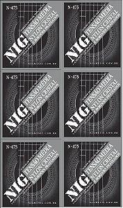 Nig Kit Com 6 Encordoamento Violão Nylon Com Bolinha N-475