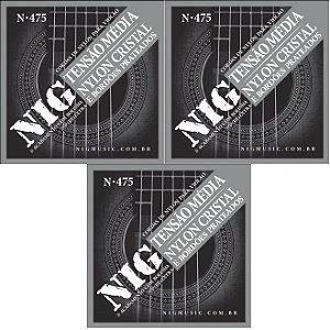 Nig Kit Com 3 Encordoamento Violão Nylon Com Bolinha N-475