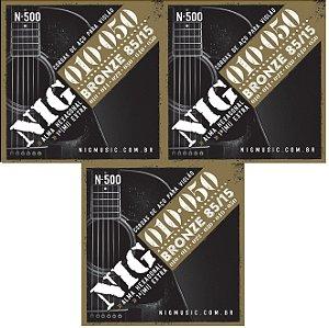 Nig Kit Com 3 Encordoamento Violão Aço 010 N-500