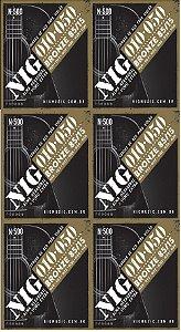Nig Kit Com 6 Encordoamento Violão Aço 010 N-500