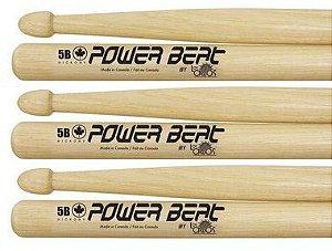 Los Cabos Power Beat Kit 3 Pares De Baquetas 5b Hickory