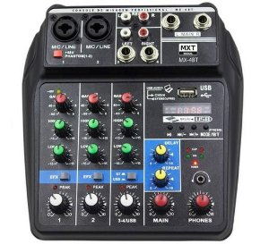 Mx Mesa De Som C/ 4 Canais Mx-a4bt Efeito E Phantom Power