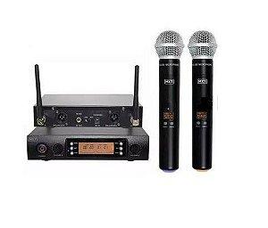 Mx Microfone Sem Fio Duplo Uhf Pll 100 Canais Uhf-628m
