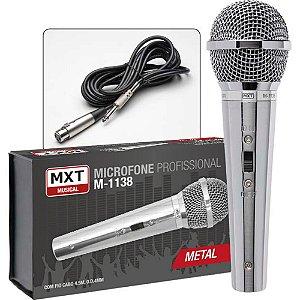 Mx Microfone Metal Cromado M-1138 Profissional C/ Cabo 4.5m