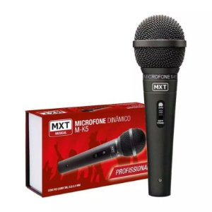 Mx Microfone Dinâmico Metal M-k5 Profissional Preto C/ Cabo 3 Metros