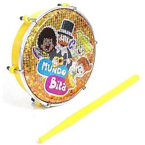 """Luen Tamborim Abs 6"""" Mundo Bita Amarelo com Baqueta Infantil 60047MBAM"""