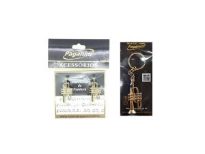 Kit Paganini Prendedor de Partitura + Chaveiro Trompete - Kttrompete