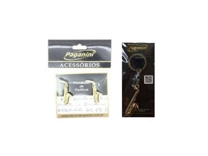 Kit Paganini Prendedor de Partitura + Chaveiro Saxofone - Ktsaxofone