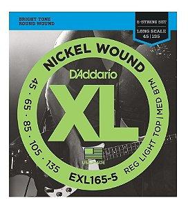 D'Addario Encordoamento Baixo 5 cordas 040- 095 EXL165-5