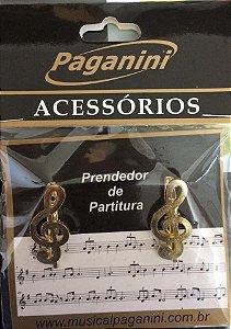 Paganini Prendedor Partitura Clipet Dourado PPT076 Clave Sol