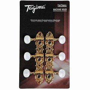 Tagima Tarraxa Blindada Para Violão Nylon Dourada TMH 831-GD