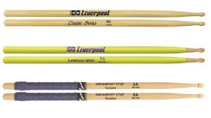 kit com 3 pares de baquetas 5A Liverpool Classic Series Sentation Grip Luminous Series Amarela