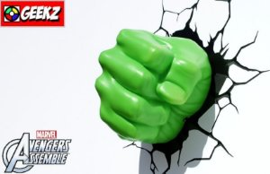 LUMINARIA 3D LIGHT FX PUNHO DO HULK AVENGERS ASSEMBLE