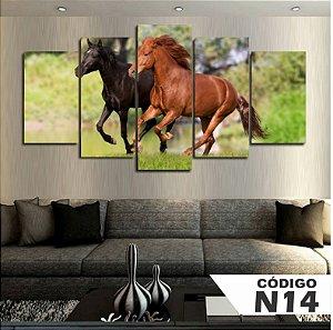 Quadro Decorativo Cavalo Preto e Marrom