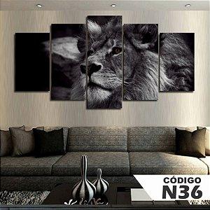 Quadros decorativos leão preto e branco