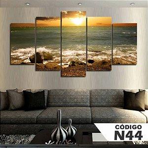 Quadros decorativos paisagem praia por do sol