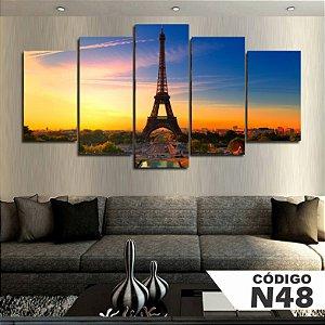 Quadros decorativos paisagem paris torre eiffel por do sol