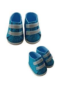Sapatinho Boneca Azul Gliter