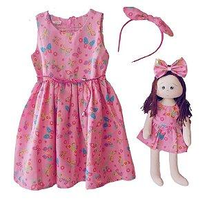 Kit Completo com Boneca Petit Borboletas Rosa