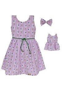 Kit vestido Infantil e Boneca Petit Lhama