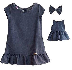 Kit Vestido Infantil e Boneca Petit Jeans Babado
