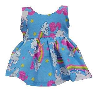 Vestido Boneca Unicórnio Azul American Girl