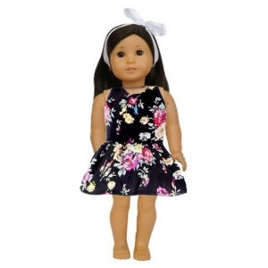 Vestido Boneca Floral Vermelho American Girl