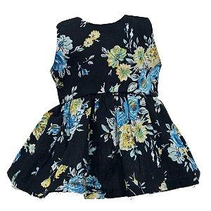 Vestido Boneca Floral Azul American Girl