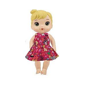 Vestido Boneca Corações Vermelho Baby Alive
