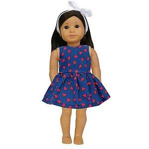 Vestido Boneca Marinho Corações American Girl