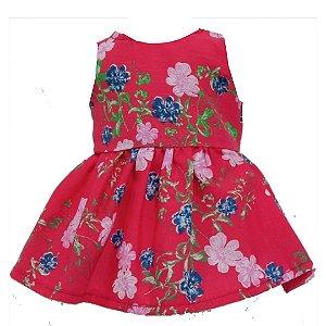 Vestido Boneca Vermelho Flores Bebê Reborn