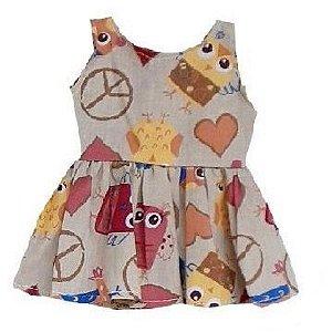 Vestido Boneca Coruja Hippie Baby Alive