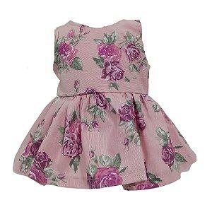 Vestido Boneca Rosê Flores Baby Alive