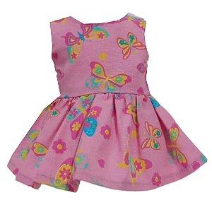 Vestido Boneca Borboletas Rosa Bebê Reborn