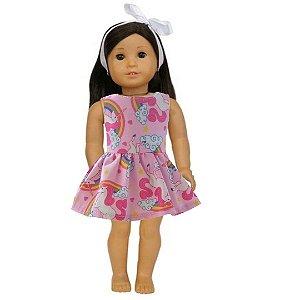 Vestido Boneca Unicórnio Rosa American Girl