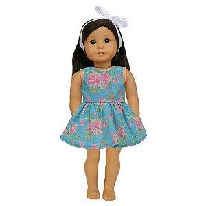 Vestido Boneca Floral Rosas American Girl