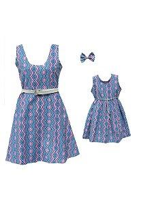Vestido Petit Geométrico Mãe e filha (Unidade)