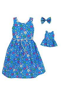 Kit Vestido Infantil e Boneca  Petit Royal Flores