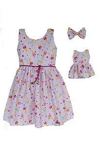 Kit Vestido Infantil e Boneca Petit Sorvete