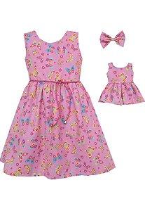 Kit Vestido Infantil e Boneca  Petit Borboletas Rosa