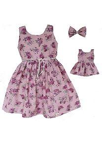 Kit Vestido Infantil e Boneca Petit Rosê Flores