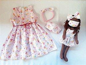 Kit Completo Vestido Infantil e Boneca de pano Petit Sorvete