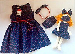 Kit Completo Vestido Infantil e Boneca de pano Petit Marinho Corações