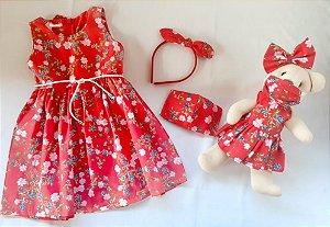 Kit Completo Vestido Infantil e Ursinho Petit Vermelho Flores